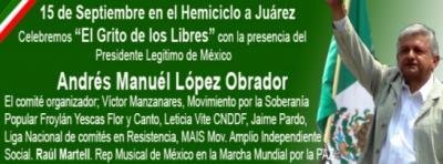 Vamos todos al grito legítimo en el Hemiciclo a Juarez en el DF