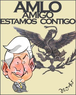 El Lic. Andrés Manuel López Obrador en la ciudad de Monterrey ayer martes día 8